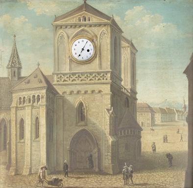 Kathedrale in süddeutscher Stadt vor Gebirgskulisse