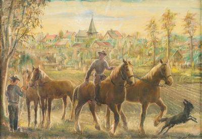 Die Knechte holen die Pferde von der Koppel