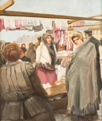 Tuchverkäuferin auf dem Marktplatz von Kutno (1916)
