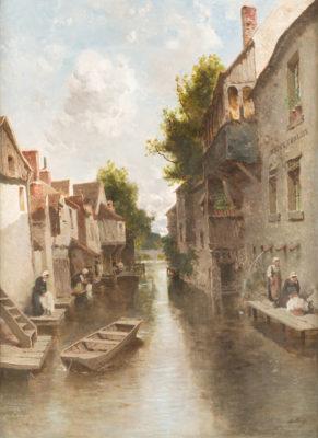 Wäscherinnen an einem Kanal