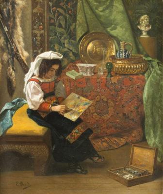 Orientalistin in ihrem Künstleratelier