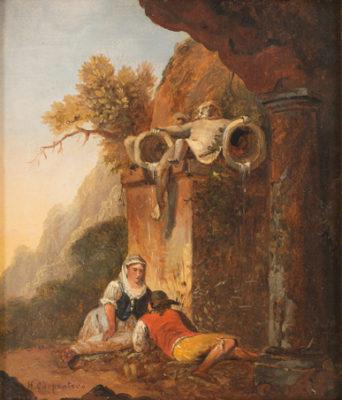 Heimliches Treffen – Junges Paar vor einer Brunnenskulptur in italienischer Landschaft