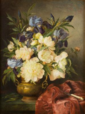Blumenstillleben mit Elfenbeingriffmesser