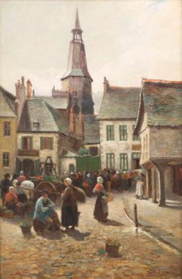 Auf dem Marktplatz von Dinan in der Bretagne