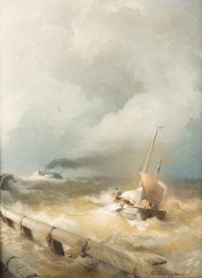 Holländisches Dampfschiff und Fischerboot auf stürmischer See (1879)