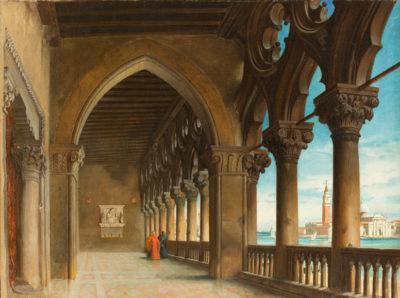 Geistliche in einem Arkadengang mit Blick auf den Canale Grande in Venedig