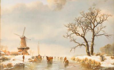 Auf dem gefrorenen Fluss an der Mühle