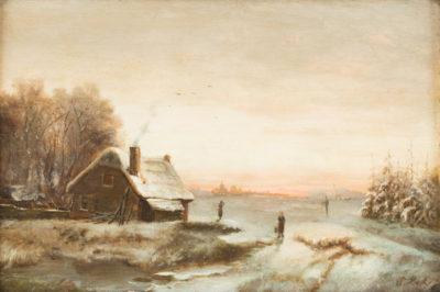 Bauernhaus in verschneiter Winterlandschaft