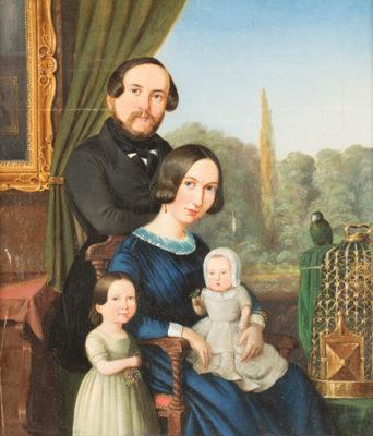 Familienportrait mit Papagei (1843)