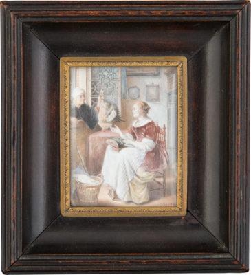 'DIE SPITZENKLÖPPERIN' nach Pieter Cornelisz van Slingelandt
