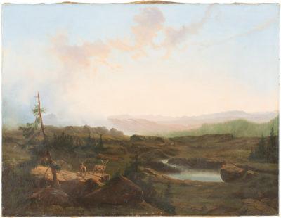 Hirsche in weiter Landschaft