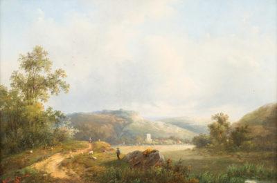 Hirte mit Schafherde in weiter Landschaft (1865)