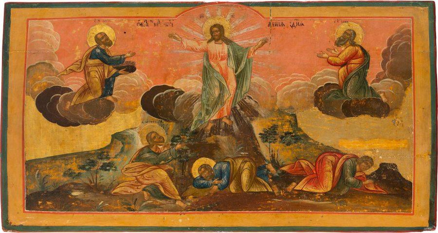GROSSE IKONE MIT DER VERKLÄRUNG CHRISTI AUF EINER KIRCHENIKONOSTASE