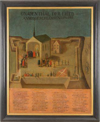 HERZOG ALEXANDER FARNESE VON PARMA ÜBERGIBT DIE ZURÜCKEROBERTE STADT NEUSS AM 1. AUGUST 1586 IM KLOSTER GNADENTAL