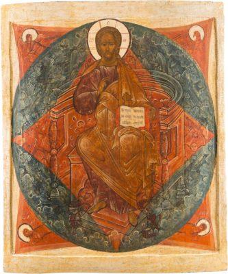 MONUMENTALE IKONE MIT CHRISTUS, DEM ERLÖSER AUS EINER KIRCHENIKONOSTASE