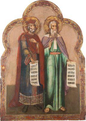 MONUMENTALE IKONE MIT PROPHETEN DES ALTEN TESTAMENTS AUS EINER KIRCHENIKONOSTASE