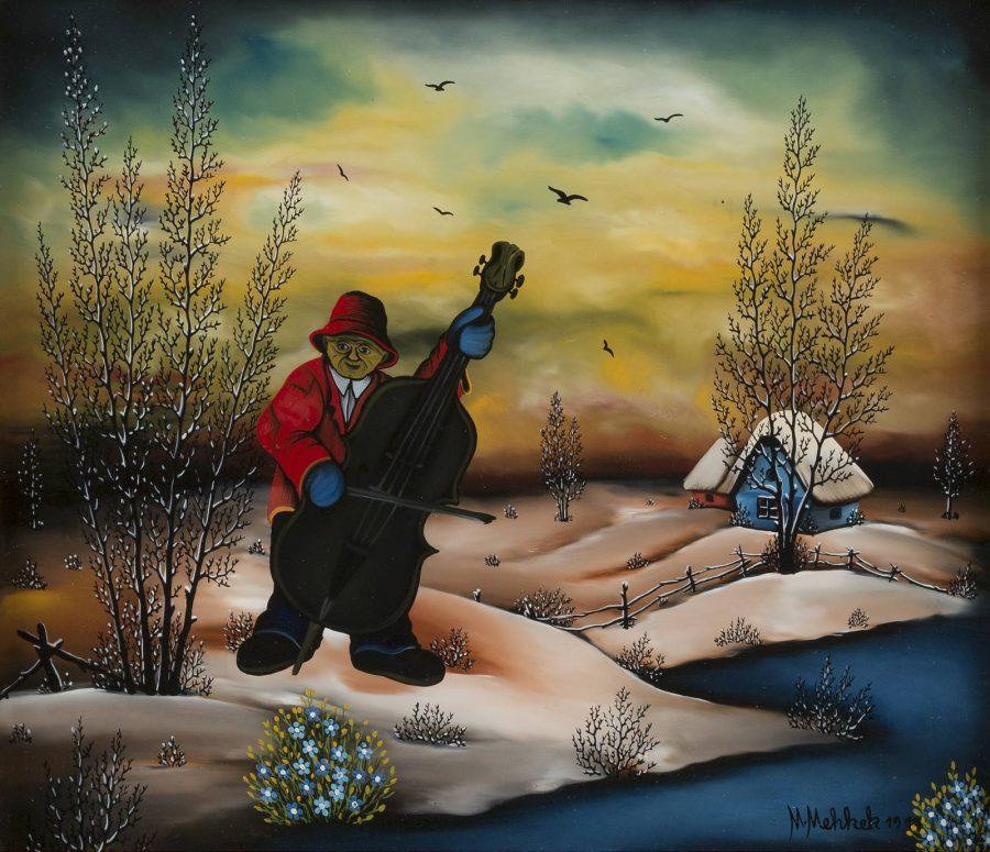 Cellospieler in winterlicher Landschaft