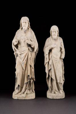ZWEI SANDSTEINFIGUREN: CHRISTUS UND JOSEF