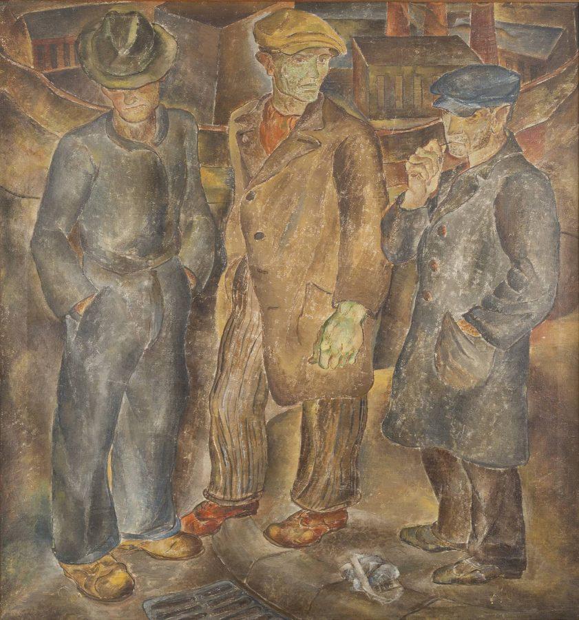 Drei Arbeiter vor Industriekulisse