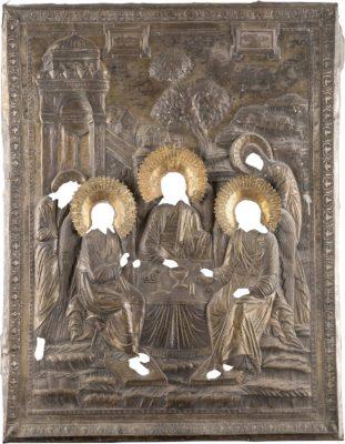 MONUMENTALES IKONEN-OKLAD: HEILIGE DREIFALTIGKEIT (ALTTESTAMENTLICHER TYPUS)