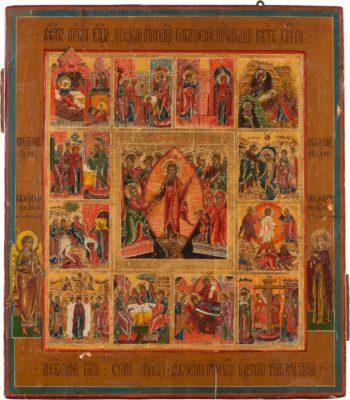 IKONE MIT DER HADESFAHRT CHRISTI UND DEN HOCHFESTEN DES ORTHODOXEN KIRCHENJAHRES