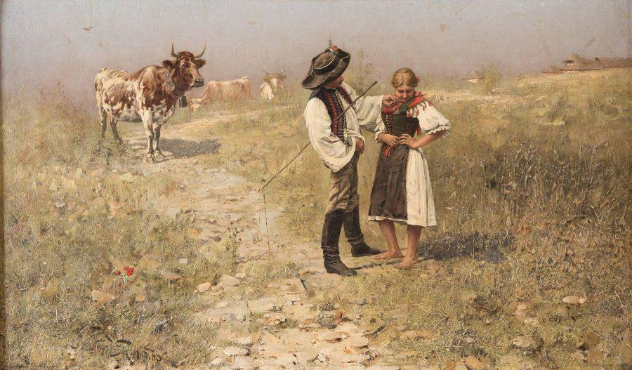 BÖHMISCHES BAUERNPAAR BEIM STELLDICHEIN