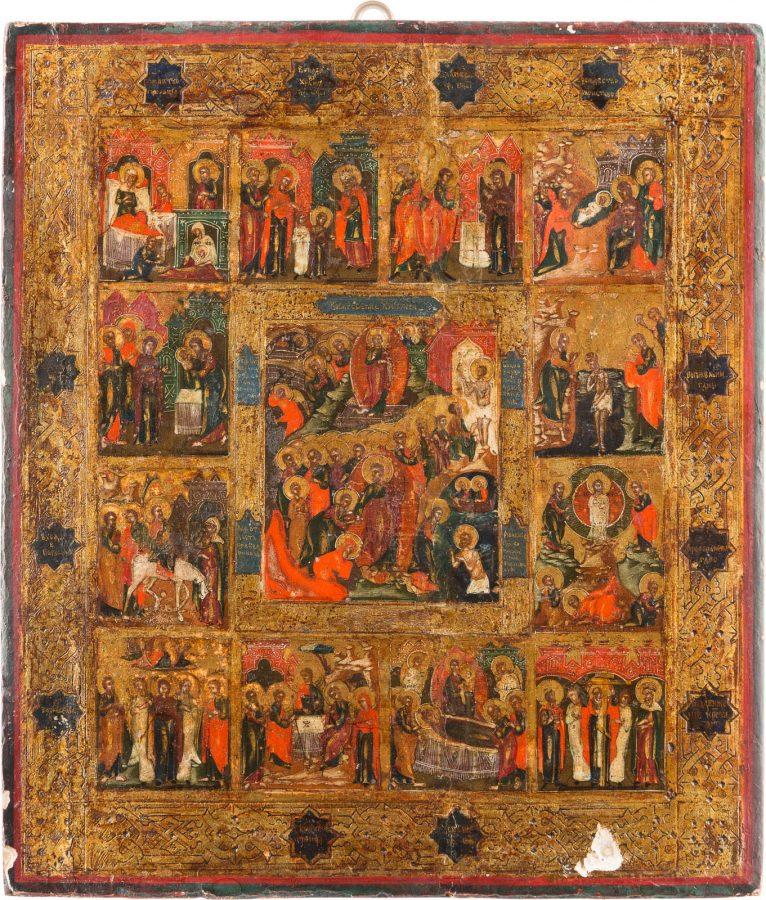 IKONE MIT DER HÖLLENFAHRT UND AUFERSTEHUNG CHRISTI MIT 12 HOCHFESTEN DES ORTHODOXEN KIRCHENJAHRES