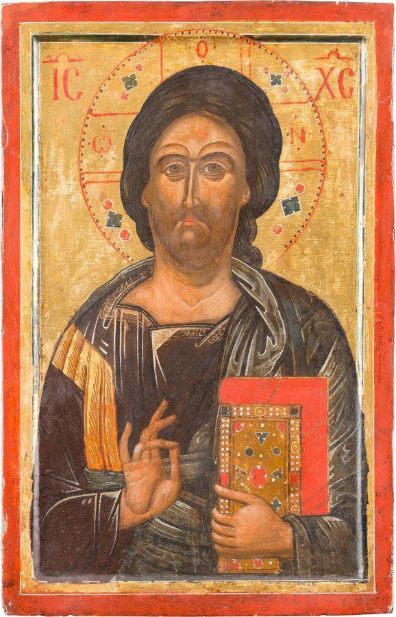 GROSSFORMATIGE IKONE MIT CHRISTUS PANTOKRATOR