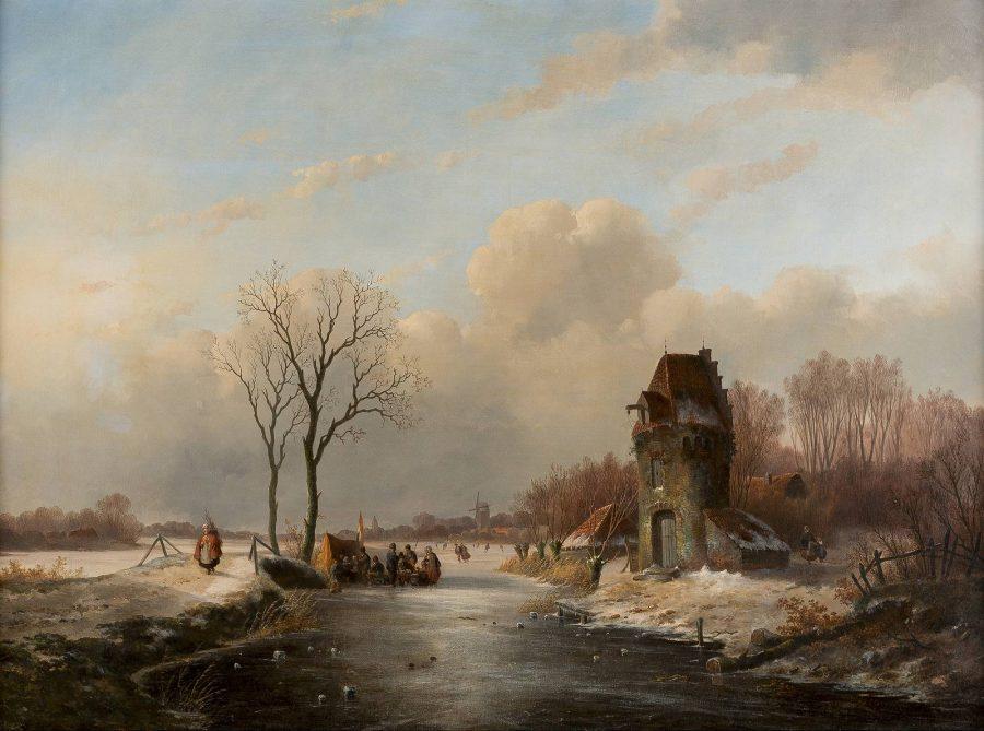 Winterlandschaft mit regem Treiben auf einem vereisten Kanal