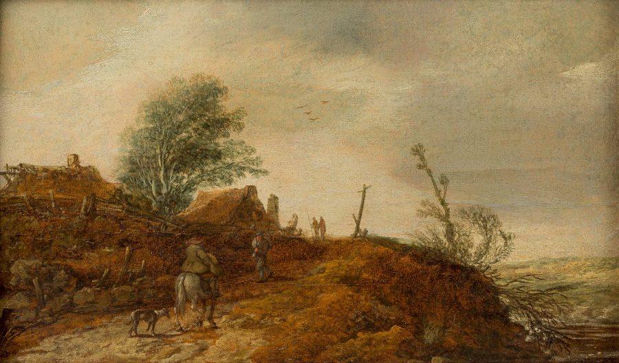HÜGELIGE FLUSSLANDSCHAFT MIT REITER UND BAUERNGEHÖFT, 1629