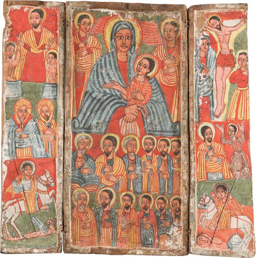 GROSSES KOPTISCHES TRIPTYCHON MIT DER GOTTESMUTTER, DER KREUZIGUNG CHRISTI UND AUSGEWÄHLTEN HEILIGEN