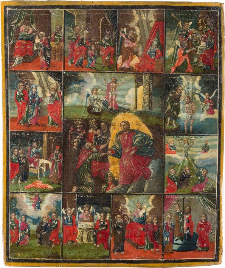 IKONE MIT DER HÖLLENFAHRT CHRISTI UND ZWÖLF HOCHFESTEN DES ORTHODOXEN KIRCHENJAHRES