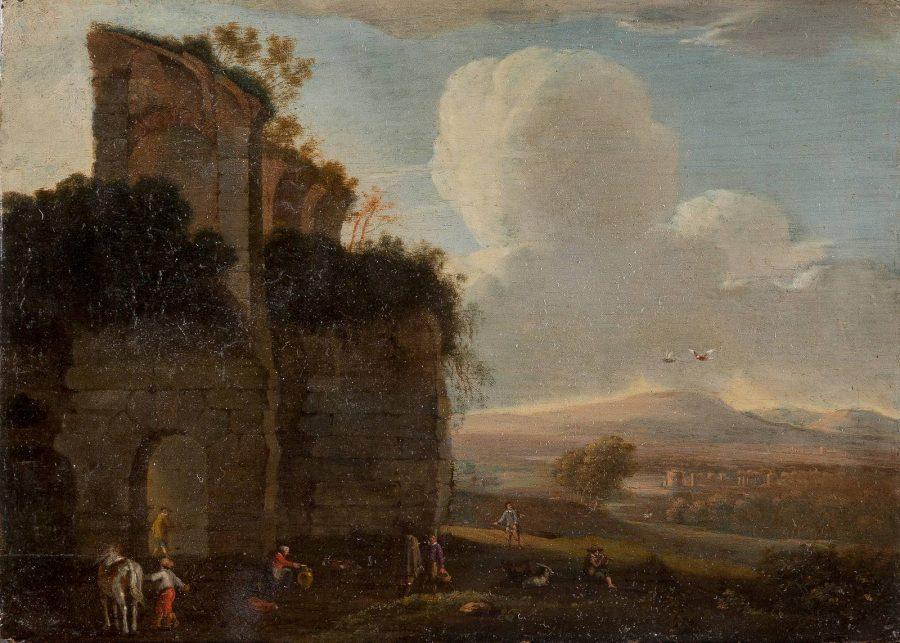 Paar Gemälde: Landschaft mit Brücke und Figurenstaffage/Landschaft mit Ruine und Figurenstaffage