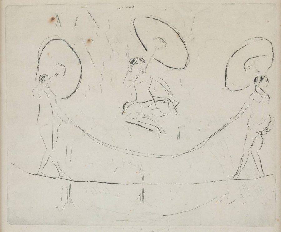 'DREI DRAHTSEILARTISTEN MIT SPRINGSEIL UND SCHIRMEN' (1910)