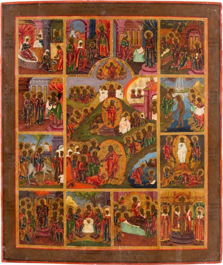 GROSSFORMATIGE IKONE MIT DER AUFERSTEHUNG CHRISTI UND ZWÖLF HOCHFESTEN DES ORTHODOXEN KIRCHENJAHRES
