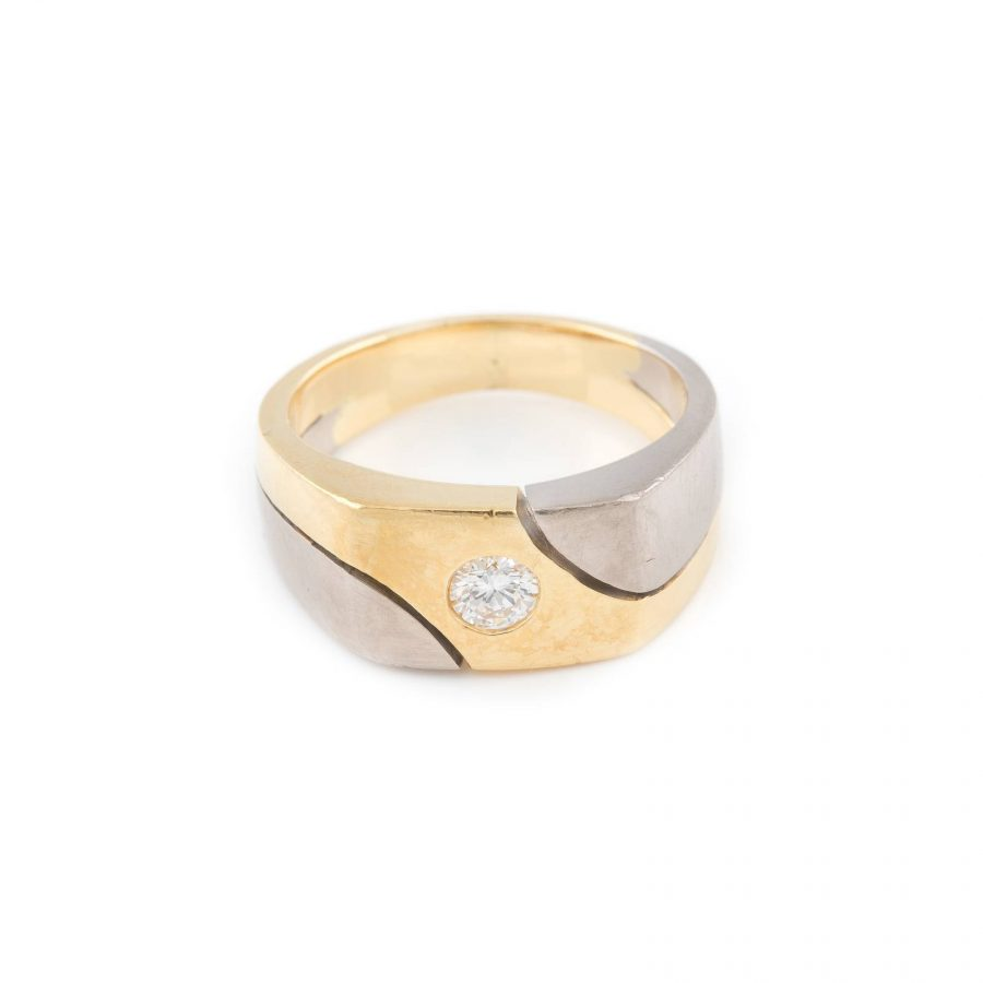 BICOLOR-RING MIT BRILLANT-SOLITAIRE