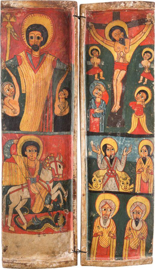 LINKER UND RECHTER FLÜGEL EINES KOPTISCHEN TRIPTYCHONS MIT DER KREUZIGUNG CHRISTI UND AUSGEWÄHLTEN HEILIGEN