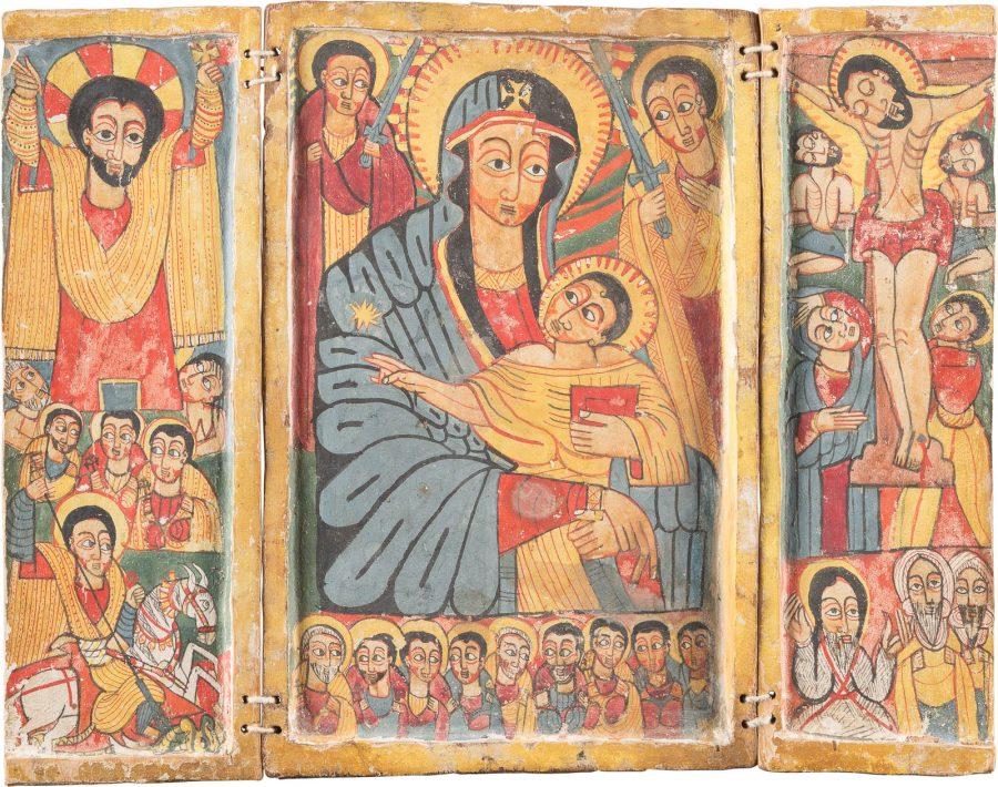 KOPTISCHES TRIPTYCHON MIT DER GOTTESMUTTER, DER KREUZIGUNG CHRISTI, DER AUFERSTEHUNG UND AUSGEWÄHLTEN HEILIGEN