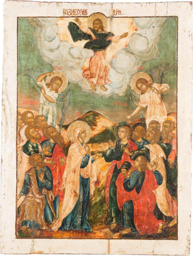 MONUMENTALE IKONE MIT DER HIMMELFAHRT CHRISTI AUS EINER KIRCHEN-IKONOSTASE