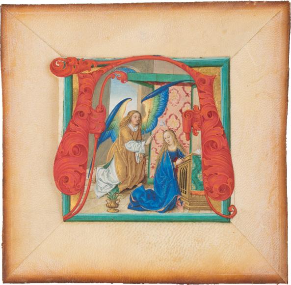 Missalefragment, Bildinitiale mit Verkündigung an Maria