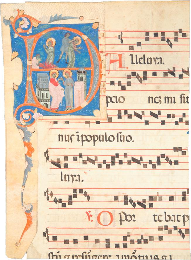 Gradualefragment aus dem 15./16. Jh. mit aufgeklebter Initiale aus dem 13. Jh., Heiligenvita