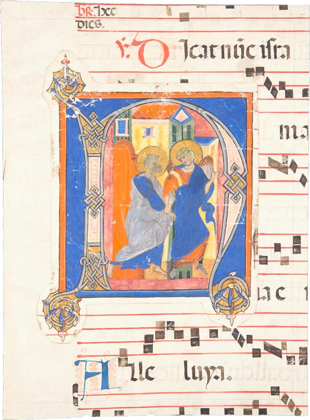 Gradualefragment aus dem 15./16. Jh. mit aufgeklebter Initiale aus dem 13. Jh., 'Befreiung des heiligen Petrus'
