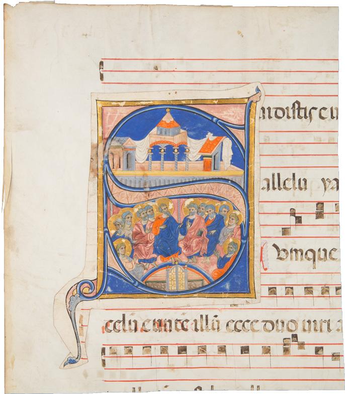 Gradualefragment aus dem 15./16. Jh. mit aufgeklebter Initiale aus dem 13. Jh., 'Pfingstwunder'
