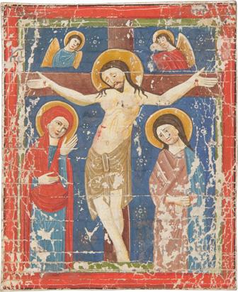 Chorbuchfragment mit Kreuzigungsminiatur