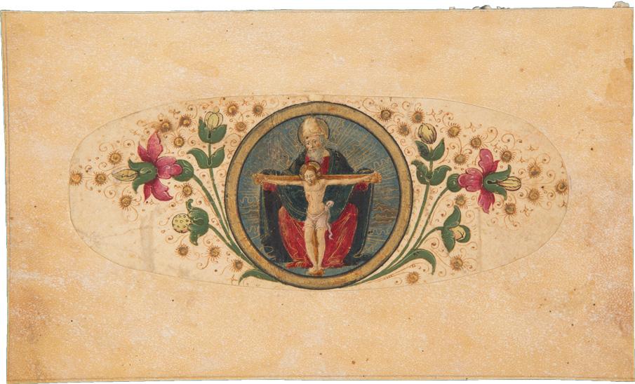 Fragment mit Randschmuck: Gnadenstuhl