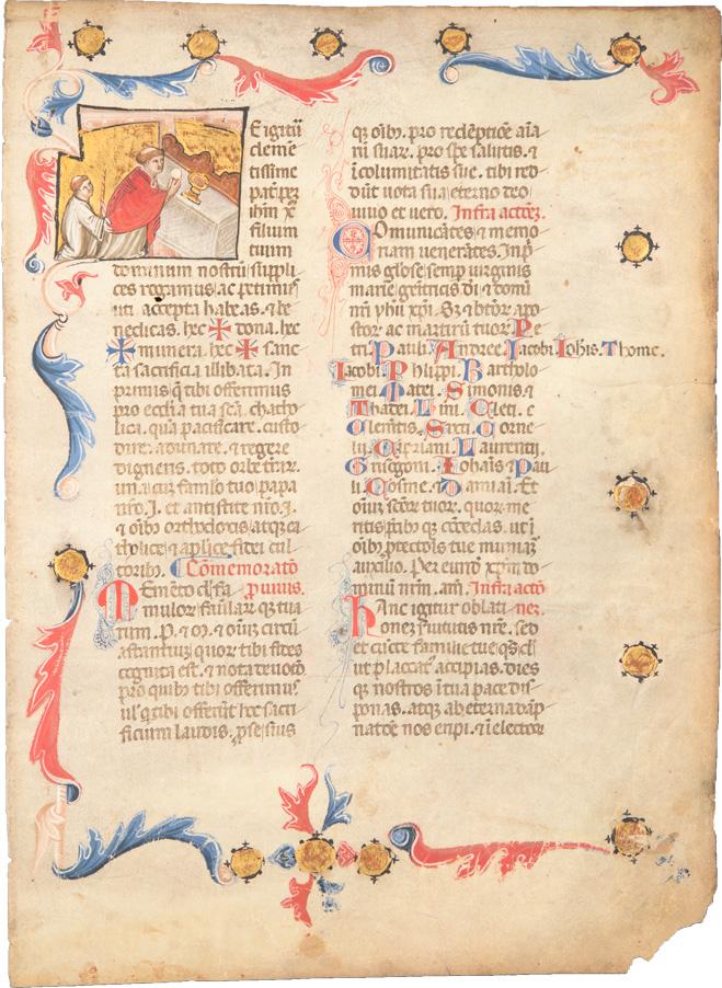 Missalefragment mit Bildinitiale 'Messfeier'