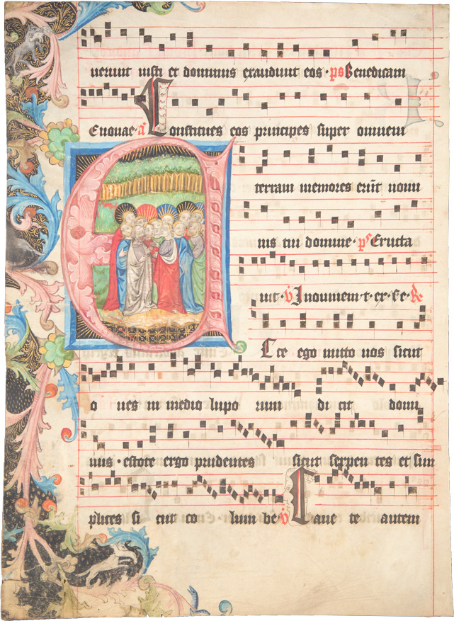 Antiphonarblatt mit Bildinitiale 'Die zwölf Apostel'