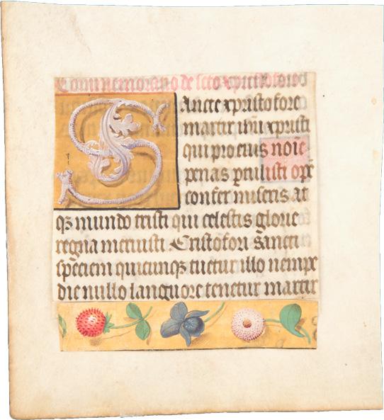 Zwei Fragmente aus einem flämischen Stundenbuch – Commemoratio (Gedenken) an den heiligen Christophorus (Schutzheiliger der Reisenden und gegen den Tod ohne Sakrament), mit Ornamentinitiale