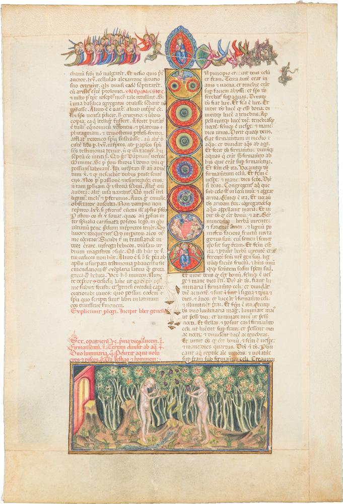 Blatt einer Bibel mit Genesis-Initiale, Engelssturz und Sündenfall