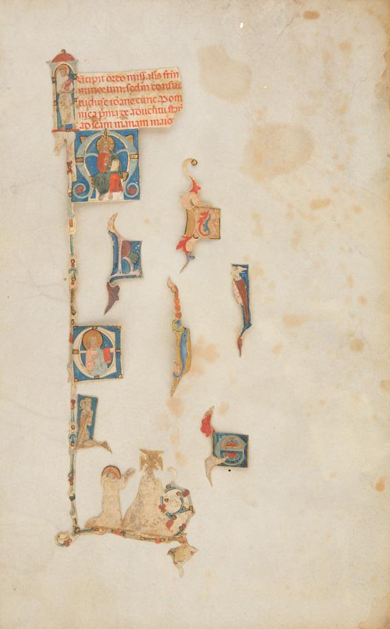 6 einzelne Ornamentinitialen, Bildinitiale mit thronendem Christus und Randbordüre mit Stigmatisation des Franziskus,